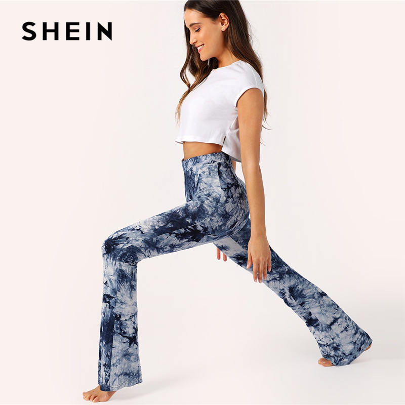 SHEIN Boho Multicolor High Waist Wide Waist Tie Dye Flare Pants Long Trousers Women Spring 2019 Casual High Street Skinny Pants 2