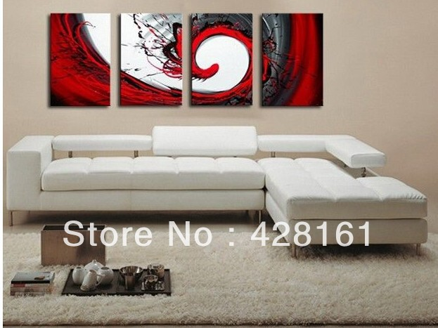 Handmade 4 Piece Black White Red Abstract Wall Art Oil Painting On ...