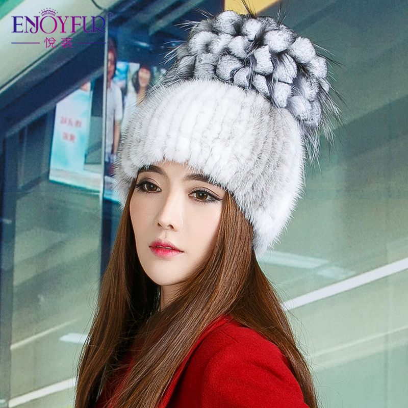 Rex rabbit fur hat wool hat in autumn and winter female mink warm hat fashion knit cap Baotou cap foreign trade explosion models in europe and america in winter knit hat fashion warm mink mink hat lady ear cap dhy 36