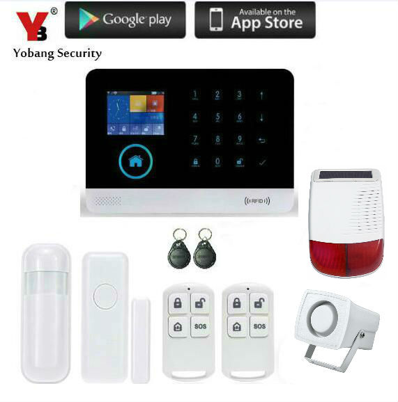 Yobang Security-WIFI APP Smart Burglar GSM Alarm System with PIR detector Outdoor Red Strobe Siren Alert Auto Dial Home Alarme gsm lcd wireless 433 smart burglar security alarm system detector sensor kit remote control auto dial sms outdoor siren
