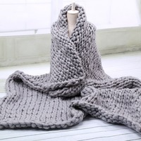 Acrylic Chunky Knit Blanket Rough Wool Hand Woven Blanket Sofa Bed Blanket Multicolor