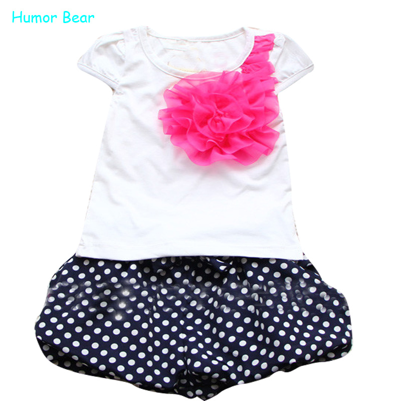 Humor Bear Summer New Children Girl'S 2Pc Sets Suit Baby Clothing Sets Flowers T Shirt + Dots Pants Girls Clothes