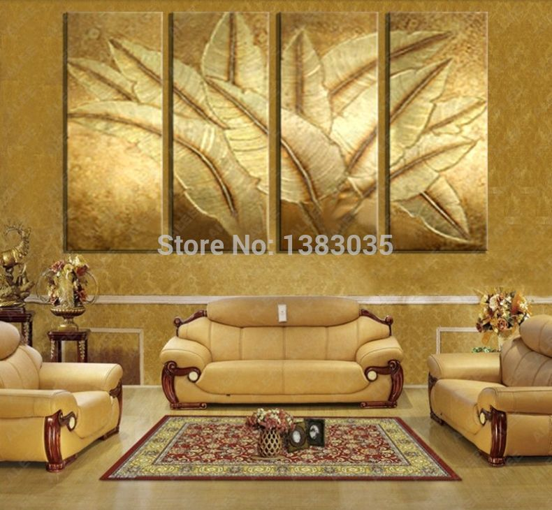 Hand Painted Gold Japanese Banana Leaf Oil Painting Modern Abstract 4 Piece Canvas Art Wall Decor