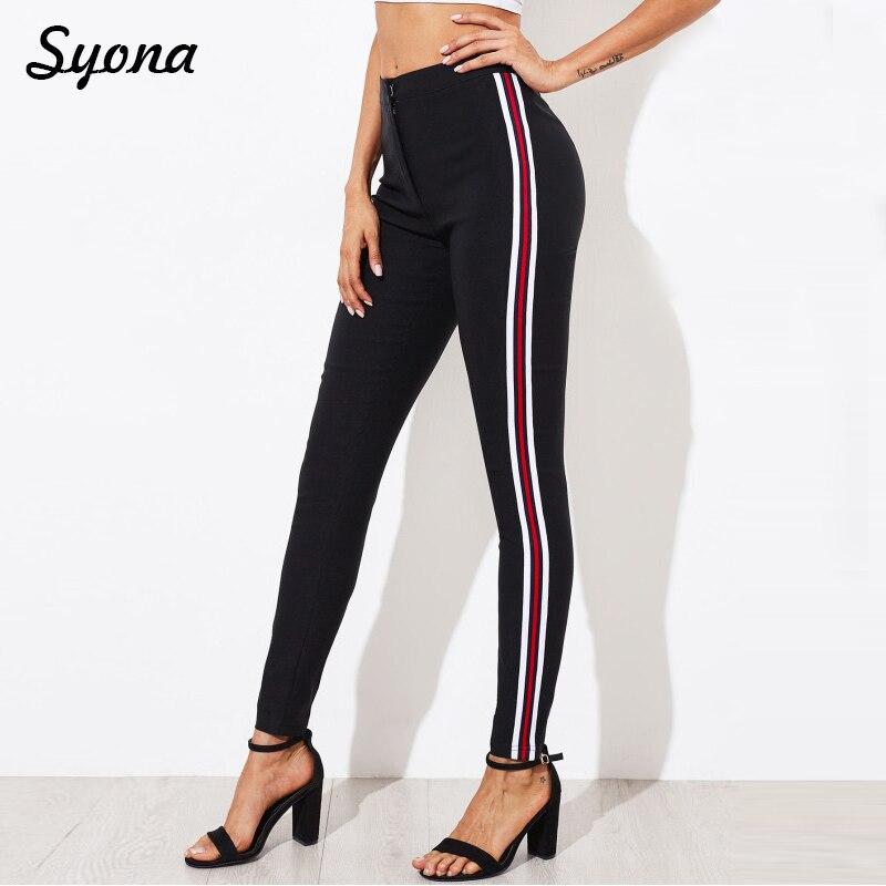 2018 Women Casual Stretch PENCIL PANTS Capri Side Stripe Female Cropped Trousers Skinny Pantaloons ladies Summer Pantacourt