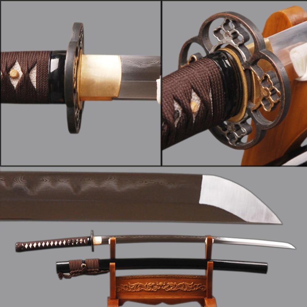 Sharp Iaido Samurai Katana Japanese Sword Folded Steel Clay Tempered Samurai Cosplay Espadas Knife Japanese Style