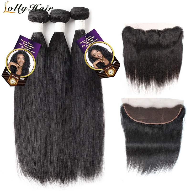Lolly Indian Straight Human Hair Bundles With Frontal Free Part 13X4 Ear To Ear Lace Frontal Closure With 3 Bundles Remy Hair
