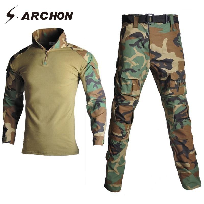 S.ARCHON Camouflage Tactical Military Uniform Set Men Suit Army Medical Soldier  Clothes Sets Airsoft Combat Shirts Cargo Pants