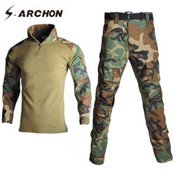 S. ARCHON Camouflage Tactische Militaire Uniform Set Mannen Pak Leger Medische Soldaat Kleding Sets Airsoft Combat Shirts Cargo Broek
