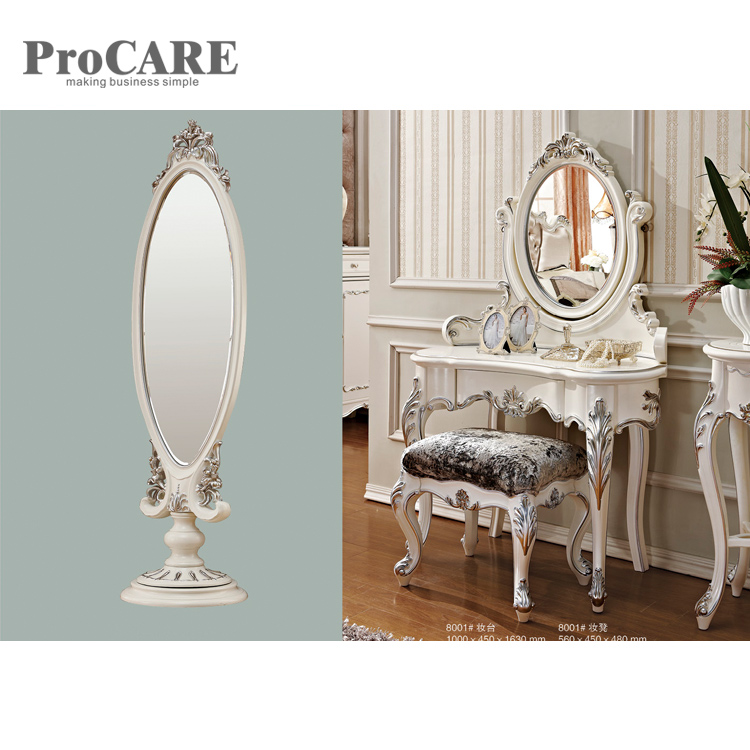 White Wooden Glass Mirrored Dressing Table with Mirror and Stool Set - 8005