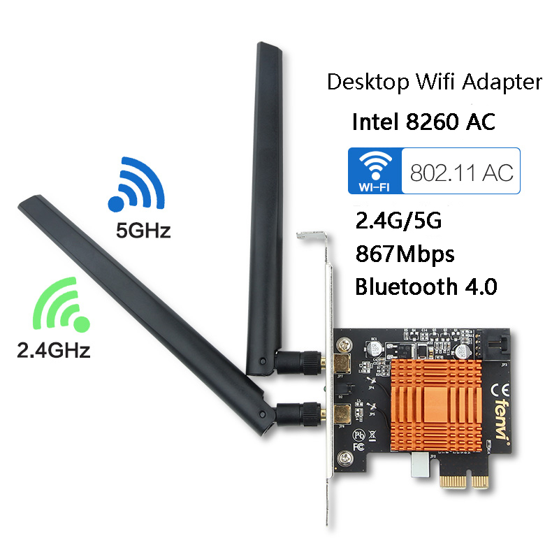 Dual Band 1200Mbps Wireless Intel 802.11ac Desktop PCI Express PCI-E 1X Wlan Wifi Adapter Wi-Fi + Bluetooth 4.2 Network 2.4G/5G
