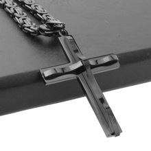 Granny Chic Fashion Mens Jesus Cross Pendant Stainless Steel Charms Black Color 6mm Byzantine Chain Male Jewelry