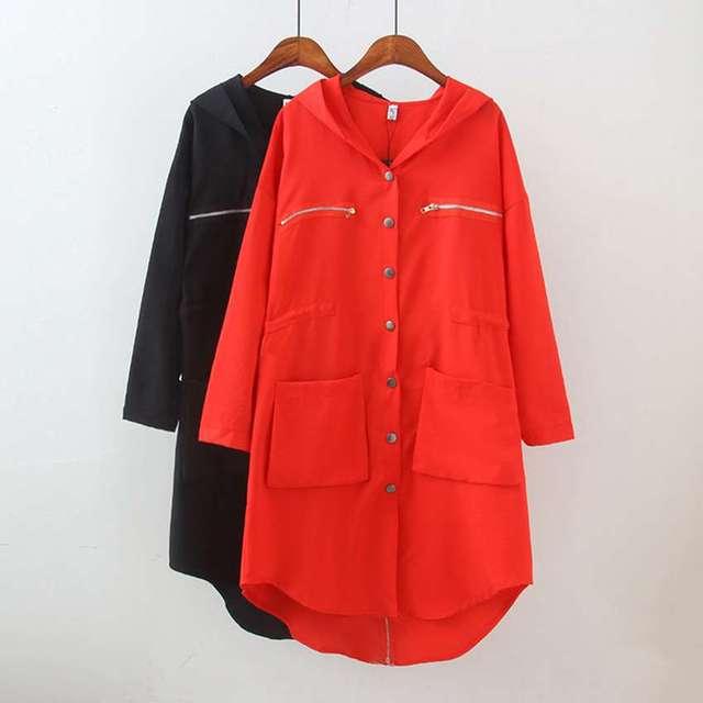 #3037 Spring windbreaker Korean Red/Black women basic coats Veste femme manche longue Loose Women jacket Thin abrigos mujer 3XL