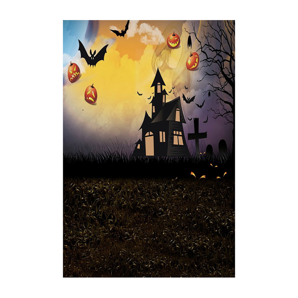 Halloween Backdrops Cat Pumpkin Haunted House Vinyl 3x5ft