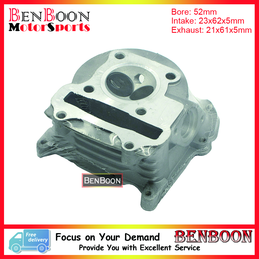 GY6 105cc 52mm Scooter Big Bore Cylinder Head With big valves for 4T Chinese Moped Scooters