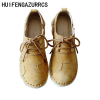 HUIFENGAZURRCS Comfortable Softsole Low Up Genuine leather Single Shoe Leisure Shoes College Wind Spring New Style Women's Shoes