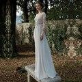 Boho Lace Russian Wedding Dress 2016 Sexy Long Sleeve Backless Appliques Bohemian A Line Formal Bridal Gowns vestido de noiva
