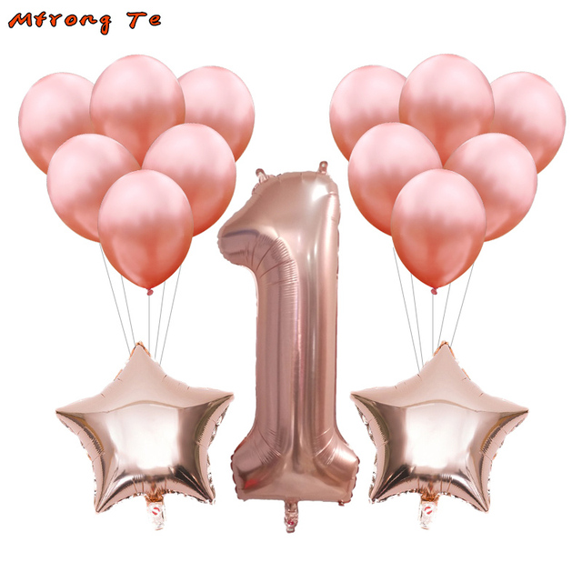15pcs/lot rosegold 1st air balloons gold pink blue for baby shower first year old boy girl birthday party Decoration kids Toys