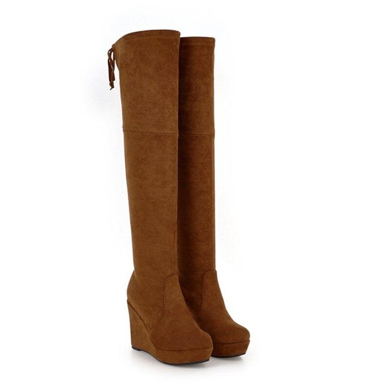 Confortable Le Longues Bottes Talons Black forme Hiver Chaussures Sexy brown Nouvelle Femmes Sur Wedge Plate Hauts Pompes Genou oshQCxrdBt