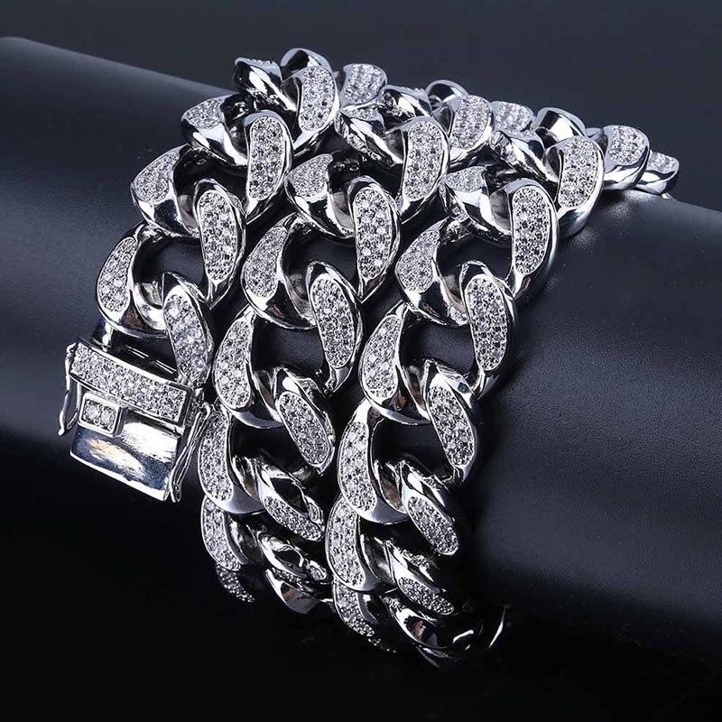 MISSFOX HÜFTE Hop Jewelers 18mm USA Männer Iced Out 24K Gold Überzogene Ton Künstliche CZ Miami Kubanischen Link kette Choker Halskette 18 22 - 4