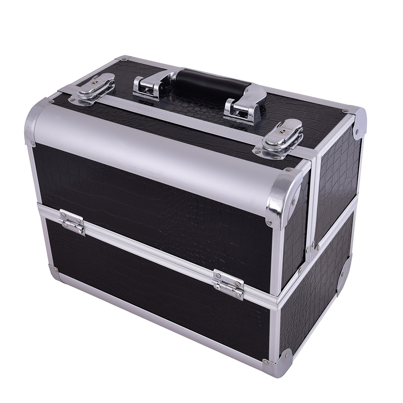 2017 Hot professional Aluminium PU Make up Box Makeup Case Beauty Case Cosmetic Bag Multi Tiers Lockable Jewelry Box for gift