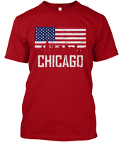 Chicago Illinois Skyline American Flag D Hanes Tagless Tee T Shirt