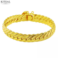 New Fashion 24K Gold Plated Bracelet 8MM Yellow Gold Golden Bracelet Bangle Men Women Wedding Gift