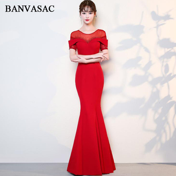 BANVASAC 2018 O Neck Crystal Mermaid Long Evening Dresses Lace Short Embroidery Sleeve Backless Party Prom Gowns