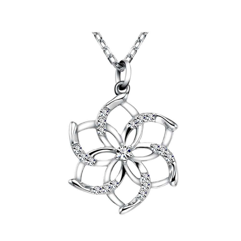 Urocze srebro 925 wisiorek kwiat naszyjnik dla kobiet lśniący kryształowy łańcuszek z wisiorem naszyjnik ślubny prezent biżuteria dla dziewczynek