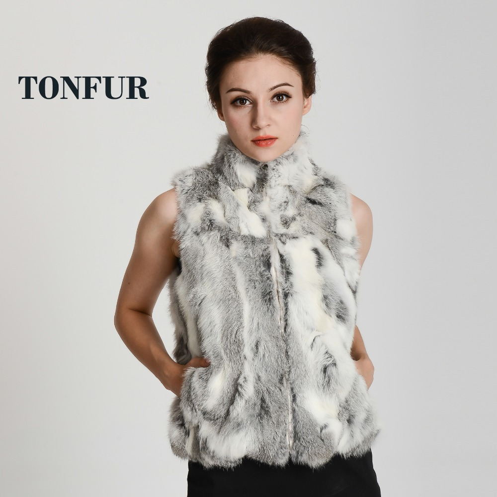 2019 New Women Vintage Real Natural Rabbit Fur Vest With Zipper On Front Classical Style Factory Sale HP400
