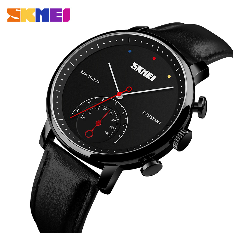 <font><b>SKMEI</b></font> Business Quartz Men's Watch Leather Strap Man Watches Alloy Case Waterproof Wristwatch Relogio Masculino Casual Watch Men image