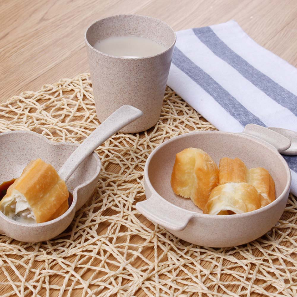 5pcs/set Character baby Plate bow cup Forks Spoon Dinnerware feeding Set,100% <font><b>bamboo</b></font> fiber <font><b>Kids</b></font> Baby children tableware set image