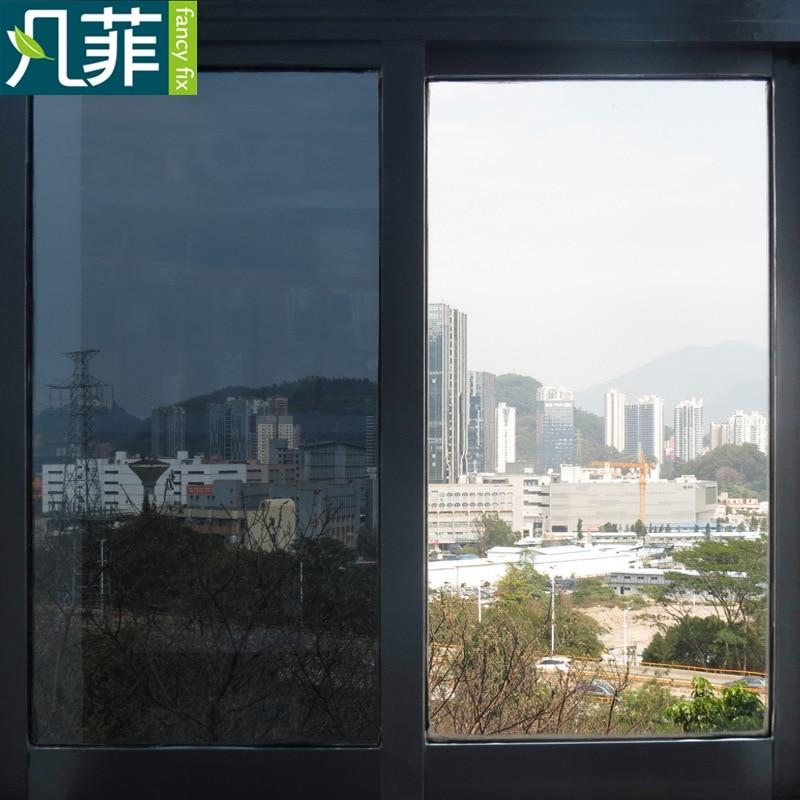 FANCY-FIX Privacy Window Glass Film Heat Control,Solar Reflective One Way Mirror Film,Static Cling Decorative Glass Foil Sticker