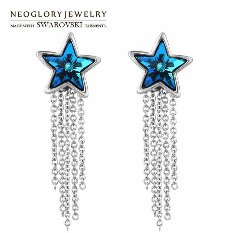 Neoglory Austria Crystal Dangle Earrings Exquisite Blue Star With Tassels Design For Lady Romantic Jewelry New Sale Gift
