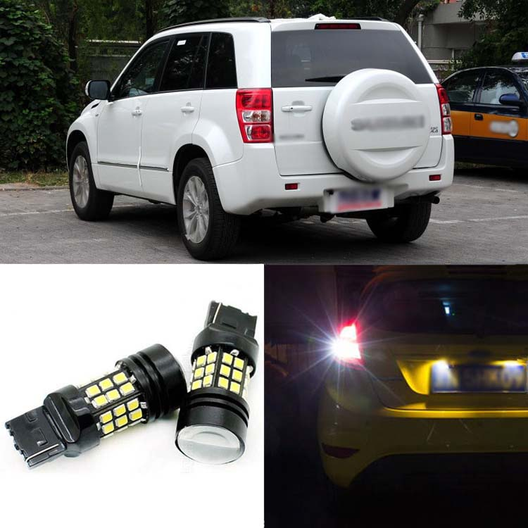 2pcs High Quality Superb Error Free 5050 SMD 360 Degrees LED Backup Reverse light Bulbs T20 For Suzuki Vitara 5 Doors 2 x error free super bright white led bulbs for backup reverse light 921 912 t15 w16w for peugeot 408