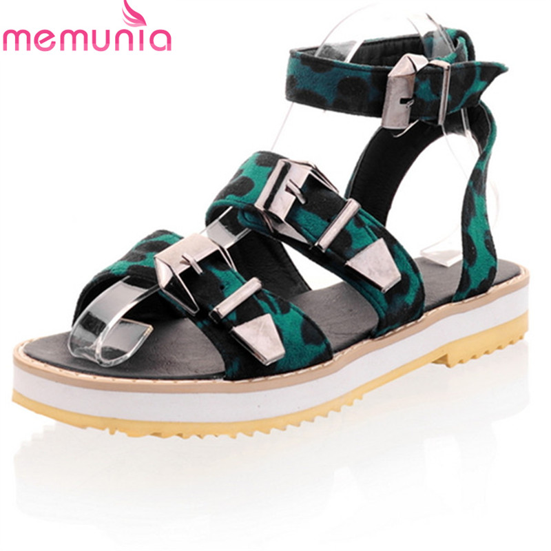 MEMUNIA 2018 new arrive women sandals summer fashion leopard simple buckle casual shoes top quality comfortable flat sandals women s shoes 2017 summer new fashion footwear women s air network flat shoes breathable comfortable casual shoes jdt103