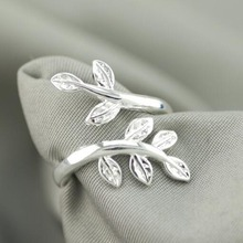 Free Shipping Men / Women 925 Sterling Silver Fashion Jewelry Opening Two Leaves Rings Gift  XJZ 04