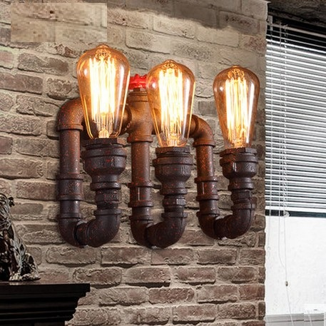 Loft Style Industrial Water Pipe Lamp Edison Wall Sconce Iron Art Vintage Wall Light Fixtures For Home Indoor Lighting loft style iron edison wall sconce industrial lamp wheels vintage wall light fixtures antique indoor lighting lampara pared