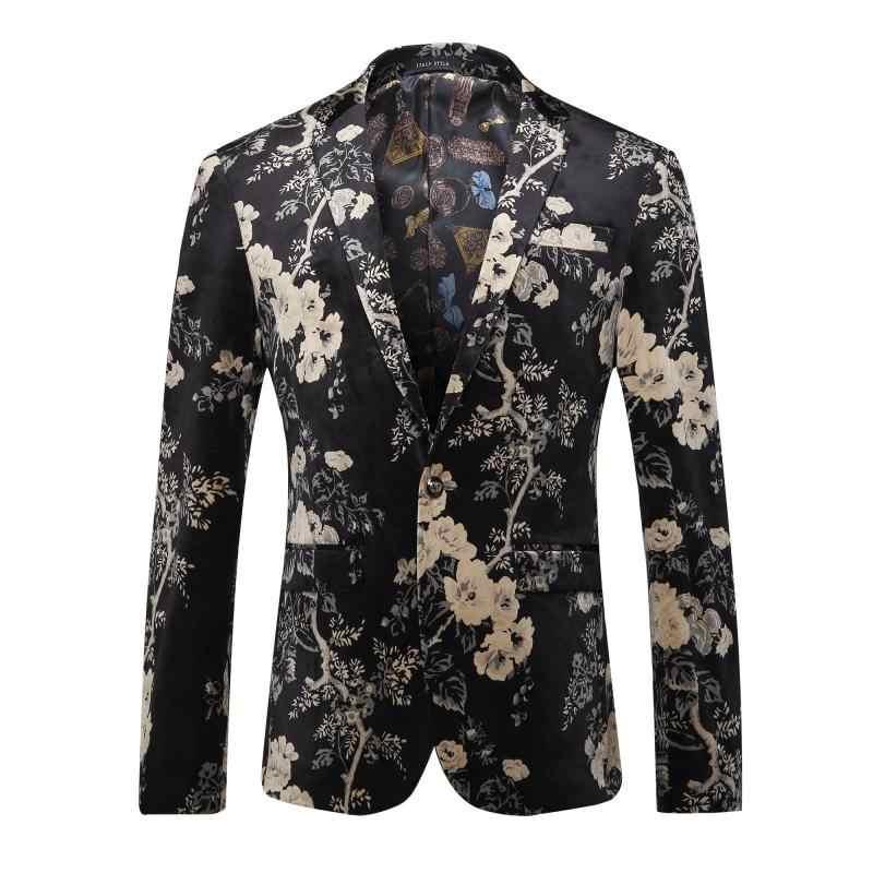 黒ゴールドプリントブレザー男性ファッションスリム Masculino Abiti ウォモウェディングブレザーつのボタン男性のスタイリッシュなスーツのジャケット