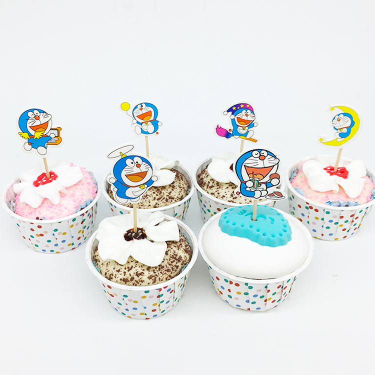 24pcs/lot Doraemon Cake/Cupcake Toppers Picks Cartoon Theme Party Supplies Kids And Babys Birthday Party Decorations