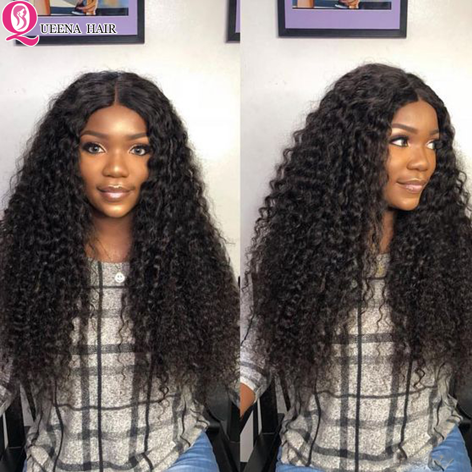 Queena Kinky Curly Hair Bundles With Closure 100% Healthy Human Hair Remy Brazilian Curly Hair Weave 3 Bundles With Lace Closure