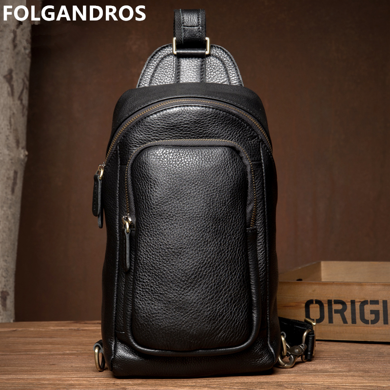 FOLGANDROS Brand Mens Chest Bag Natural Leather Vintage Chest Pack Retro Genuine Leather Zipper Sling Shoulder Messenger BagFOLGANDROS Brand Mens Chest Bag Natural Leather Vintage Chest Pack Retro Genuine Leather Zipper Sling Shoulder Messenger Bag