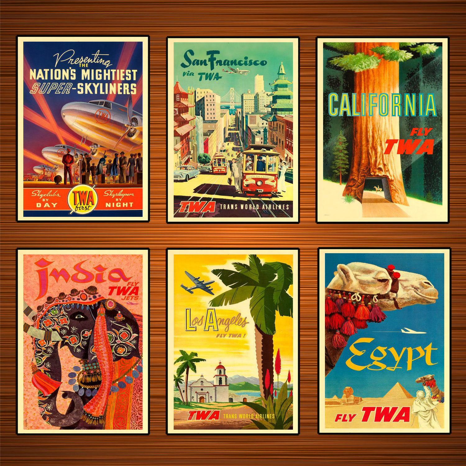 Fly Twa Hollywood Vintage Travel Poster wall art A4 A3 A5 Print Tourism
