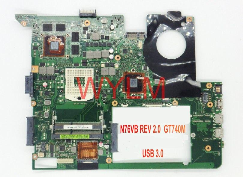 Бесплатная доставка N76VB GT740M 2 г USB 3.0 плата REV2.0 для ASUS N76VM N76VJ N76VZ N76VB Материнская плата ноутбука 100% работает хорошо