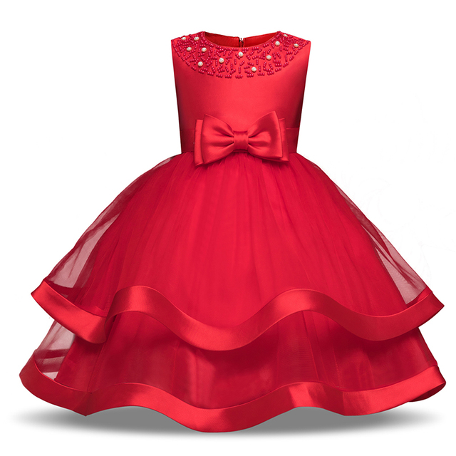 4-10 Years Red Party Dresses For Girls Elegant Beading Kids Beautiful  Dresses Gowns Bow Girlish Evening Dress Children Clothing 7202b175a003