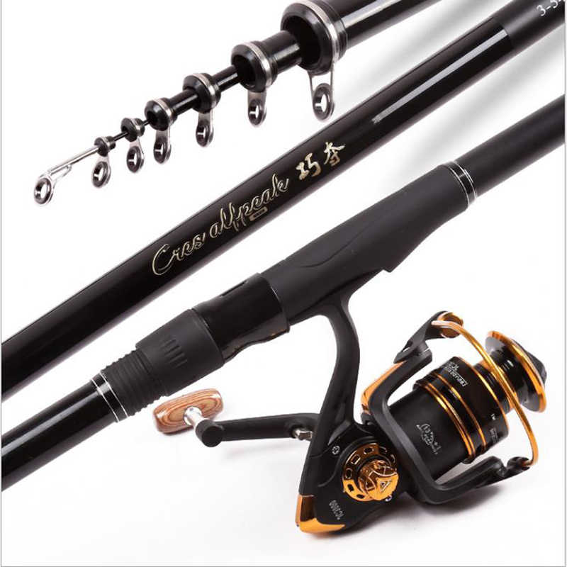 3.6-6.3mCarbon Fiber Telescopic Fishing Rod Portable Spinning Pole Boat Rock Fishing Rod