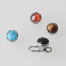 Mélange de 4 couleurs de pierre haute polie titane G23 Micro ancre cutanée hauts avec des bijoux de corps de Base de plongeur de peau