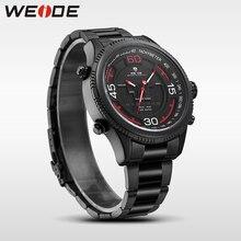WEIDE véritable marque de luxe sport montre inoxydable steelin quartz LCD montres résistant à l'eau analogique armée steampunk saat horloge hommes