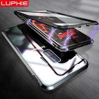 LUPHIE 360 Completa Della Cassa Magnetica Per Samsung Galaxy S9 S8 Più Nota 9 Fronte Retro Cassa di Vetro Per Samsung Note 8 9 magnete Custodie Copertura