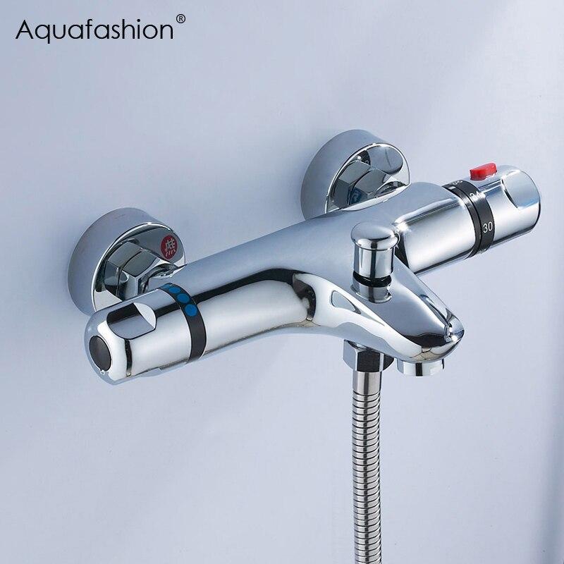 Robinets thermostatiques de douche de bain fixés au mur robinet en céramique robinet de douche d'eau de salle de bains robinet de contrôle thermostatique robinet de mélangeur