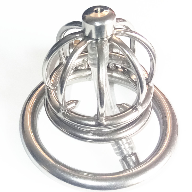 stainless steel super small cock cage spike ring penis